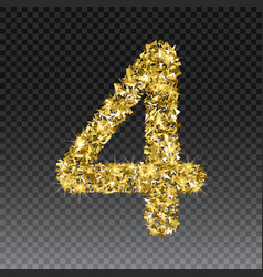 Gold glittering number four shining golden vector