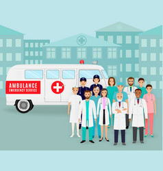 Group of doctors and nurses on retro ambulance vector