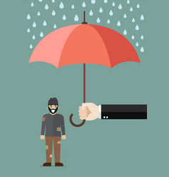 Hand holding an umbrella protecting poor man vector