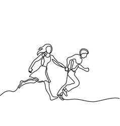 Happy running couple vector