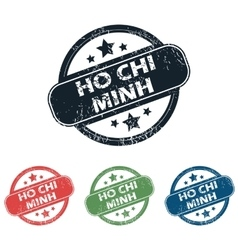 Ho chi minh stamp set vector