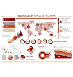 Infographic design template with graphs world map vector image