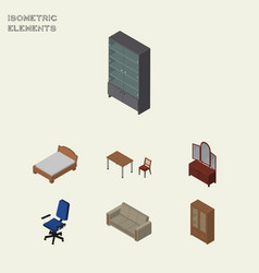 Isometric design set of bedstead couch sideboard vector