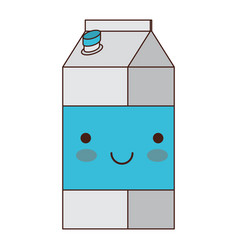 kawaii milk carton in colorful silhouette vector image