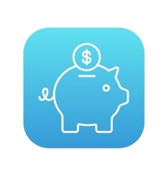 Piggy bank with dollar coin line icon vector