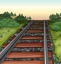 Scene with railroad in the field vector image vector image
