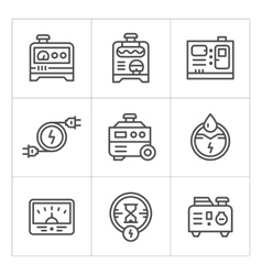 Set line icons of electrical generator vector image