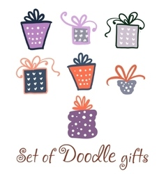 Set of watercolor doodle gifts vector image