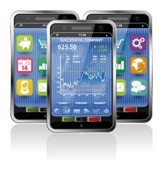 smart phones stock exchange vector image vector image