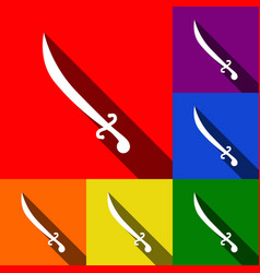 sword sign set of icons with vector image vector image