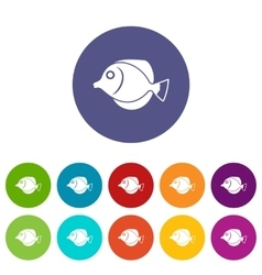 Tang fish zebrasoma flavescens set icons vector