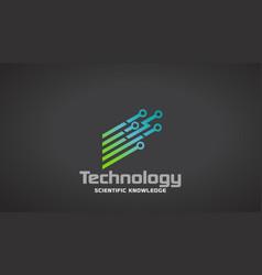 Technology circuit stripes logo desigin vector