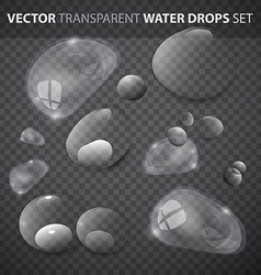 Transparent Water Drops Set vector image