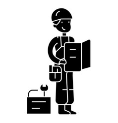 worker with plan and tools icon vector image vector image