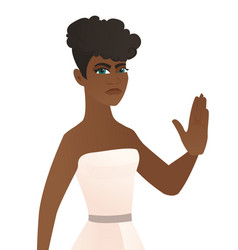Young african-american fiancee showing palm hand vector