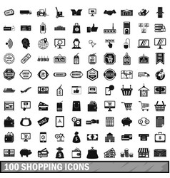 100 shopping icons set in simple style vector image vector image