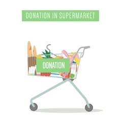 Cart with donation in supermarket isolated on vector