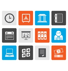 Flat business finance and office icons vector