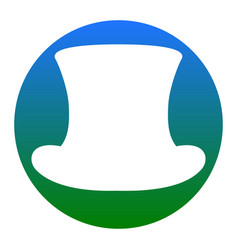 top hat sign white icon in bluish circle vector image