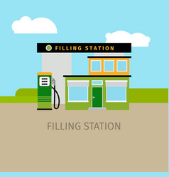 Colored filling station building vector