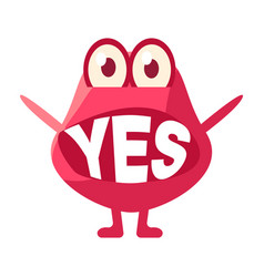 Pink blob saying yes cute emoji character with vector