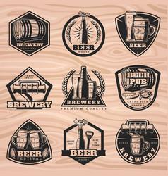 Black brewery labels set vector