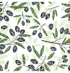 Olive seamless pattern black fruits grunge leaves vector