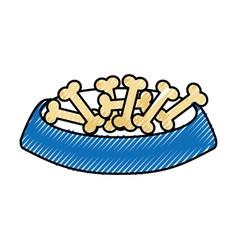 Dish food mascot with bones vector