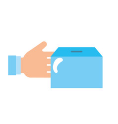 hand human with box carton packing icon vector image