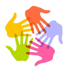 Colorful hand print icon 5 colors vector