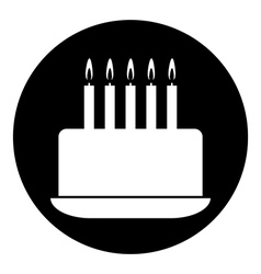 Birthday cake symbol button vector