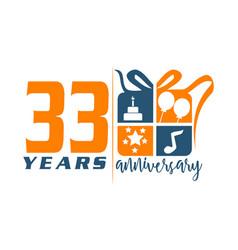 33 year gift box ribbon anniversa vector