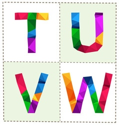 Colorful polygonal alphabet slim vector