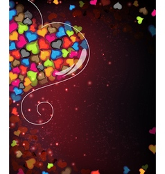 Colorful valentine hearts abstract valentines day vector