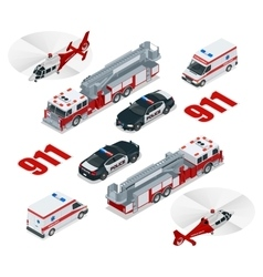 Emergency concept ambulance police fire truck vector