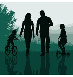 Family Having Fun in the Park vector image