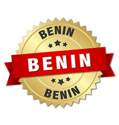 Benin round golden badge with red ribbon vector