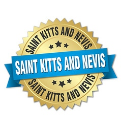 Saint kitts and nevis round golden badge with blue vector