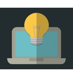 Laptop and bulb icon gadget design vector