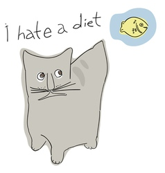 A hungry cat humorous style vector