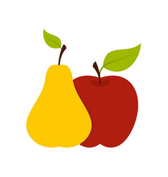 apple and pear icon flat style vector image