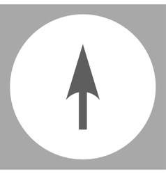 Arrow axis y flat dark gray and white colors round vector