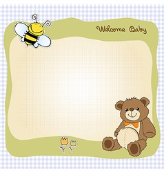 baby shower card with cute teddy bear toy vector image