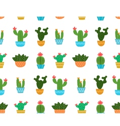 Cactus flat design seamless pattern vector image vector image