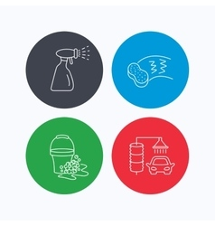 Car wash icons Cleaning station linear signs vector image vector image