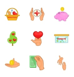 Charity icons set cartoon style vector