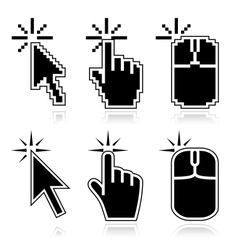 Click here black mouse cursors vector image