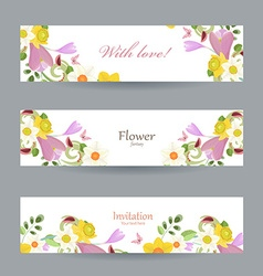 collection greeting cards with spring flowers vector image vector image