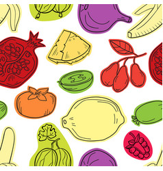 colorful seamless pattern with fruits vector image vector image