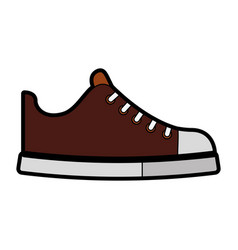 cute brown shoe cartoon vector image